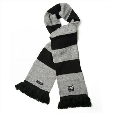 Senlak Knitted Striped Scarf - Black and Heather Grey